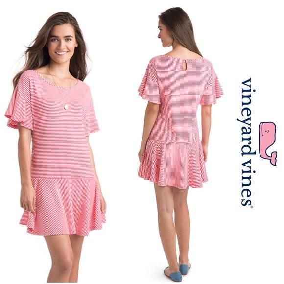 7c35ac3e81e51 Vineyard Vines Dresses | Red White Striped Flounced Dress | Poshmark